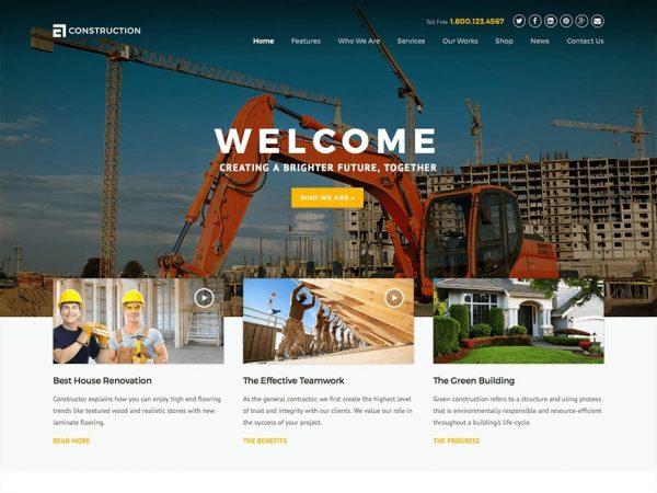 Construction - Theme wordpress xây dựng kiến trúc Số 1 hiện nay hình 2