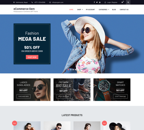 theme wordpress woocommerce eCommerce Gem