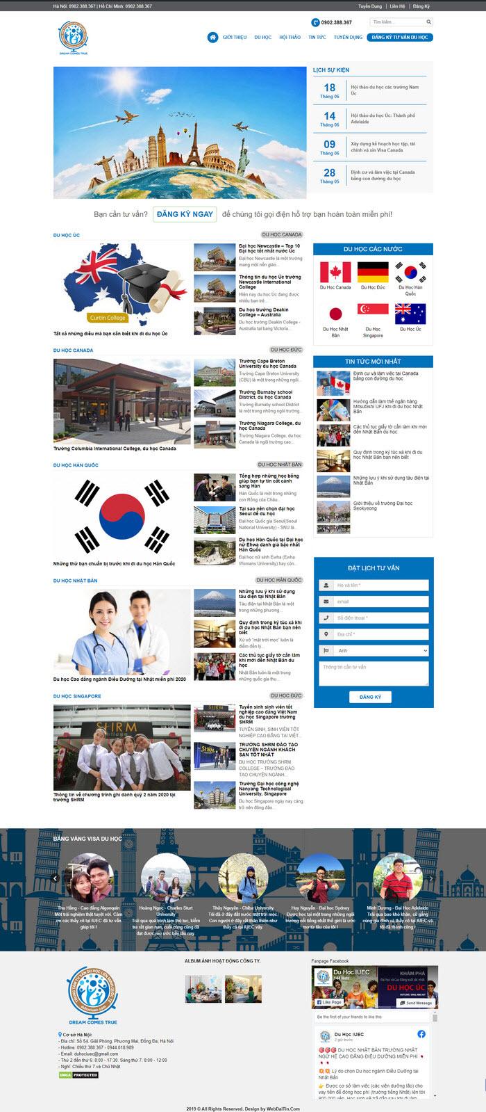 Theme wordpress trung tâm du học giáo dục M107