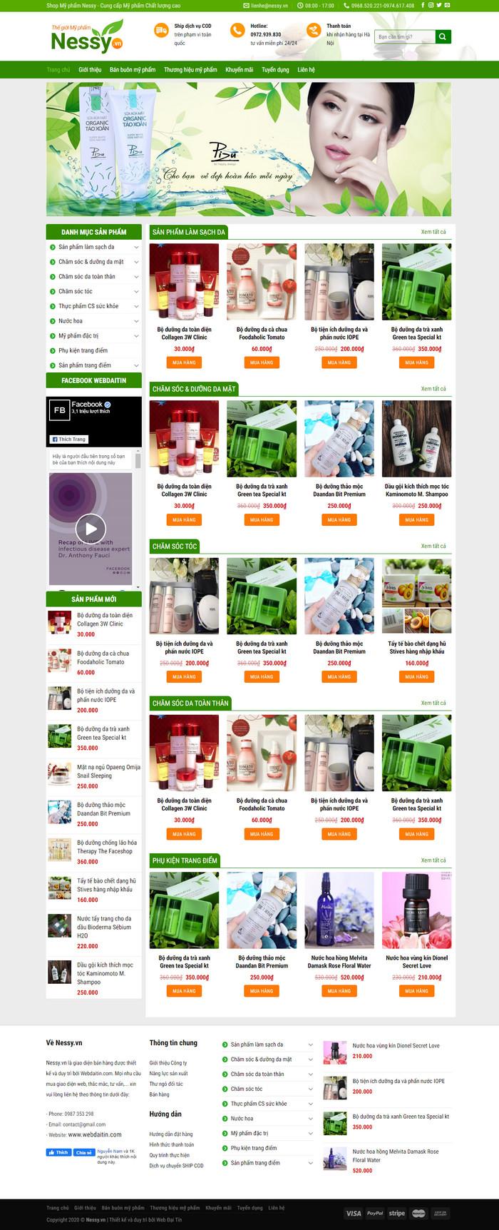 Theme WordPress Mỹ Phẩm Dược Phẩm đẹp nhẹ nhàng M115