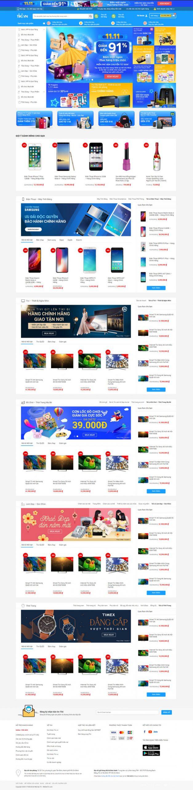 Theme WordPress bán hàng thương mại điện tử giống Tiki M137