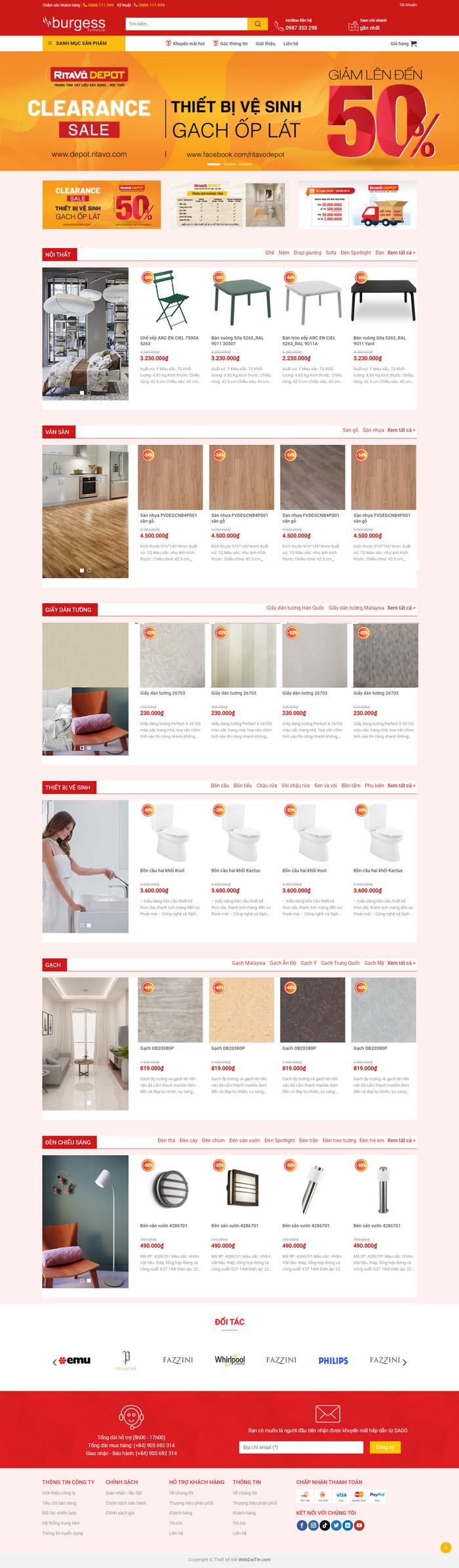 Theme WordPress bán hàng Nội Thất, Thiết bị đồ gia dụng siêu đẹp M143