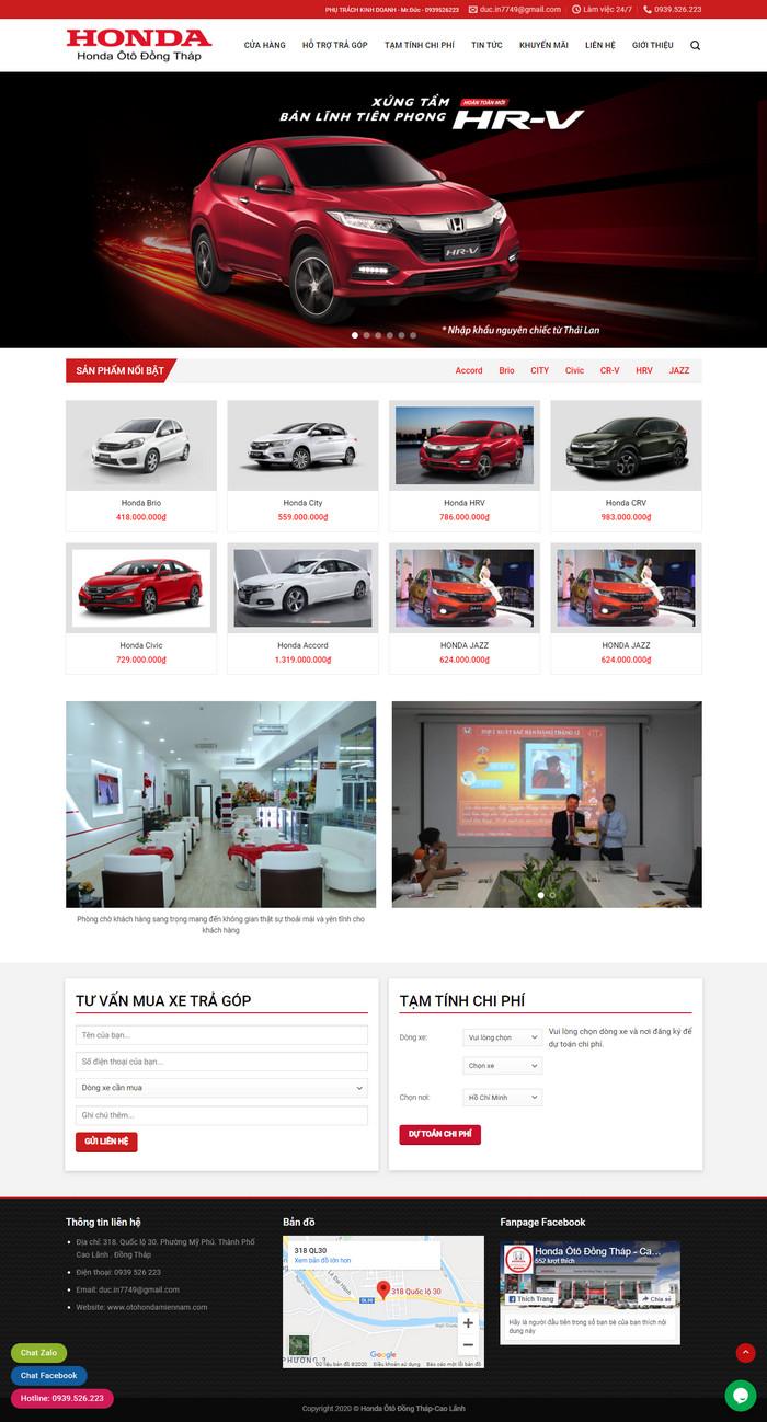 Theme WordPress bán Ô Tô Honda M149