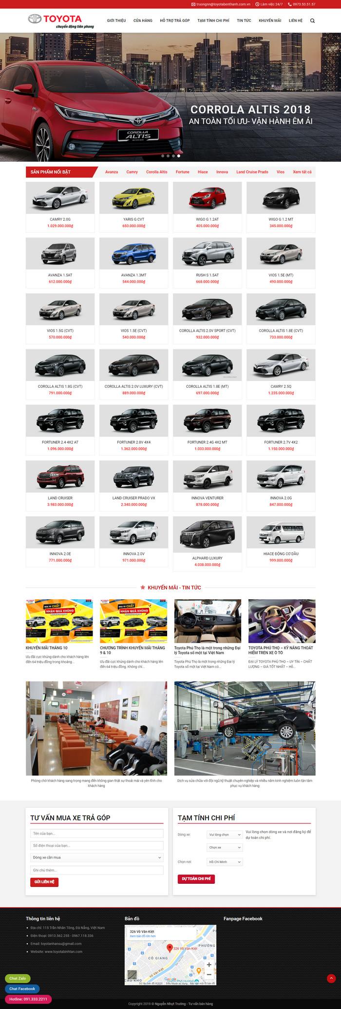 Theme WordPress bán Xe Toyota M152