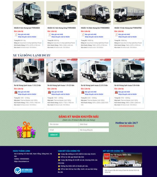 Theme Wordpress bán Xe Tải, Container M150 hình số 4