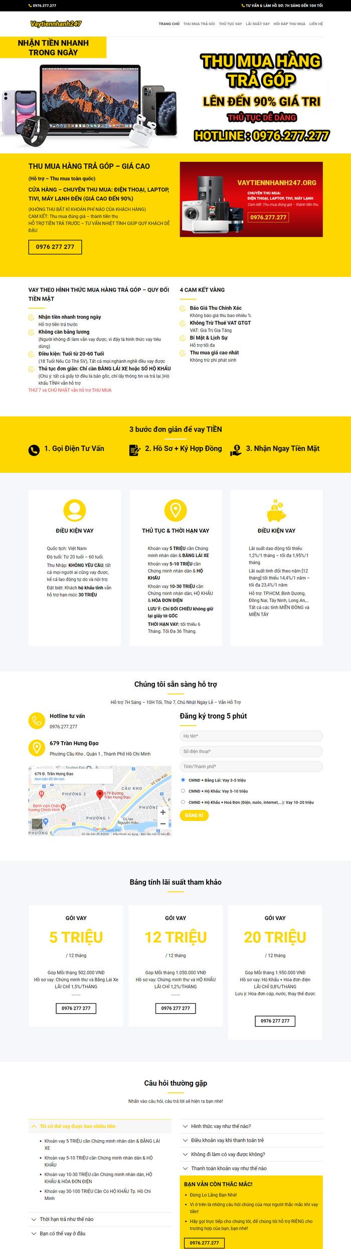Theme WordPress dịch vụ Cho Vay Nhanh M162