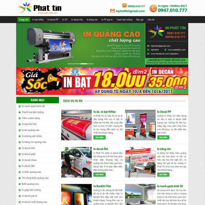 Theme WordPress dịch vụ In Ấn Quảng Cáo decal