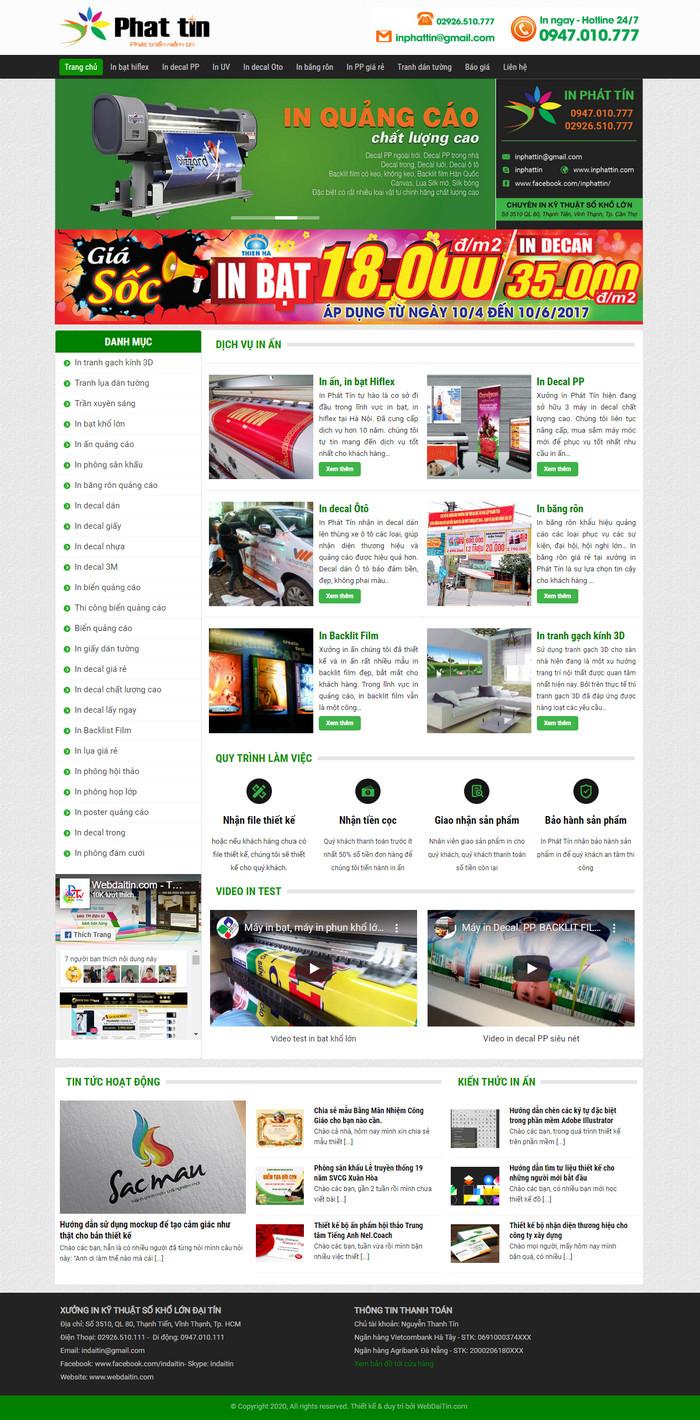 Theme WordPress dịch vụ In Ấn Quảng Cáo M133