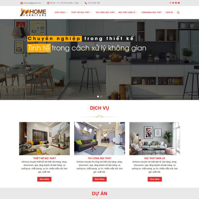 Theme WordPress Thiết kế thi công Nội Thất M127