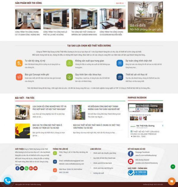 Theme wordpress dịch vụ Thiết Kế Thi Công Nội Thất M181 hình 3