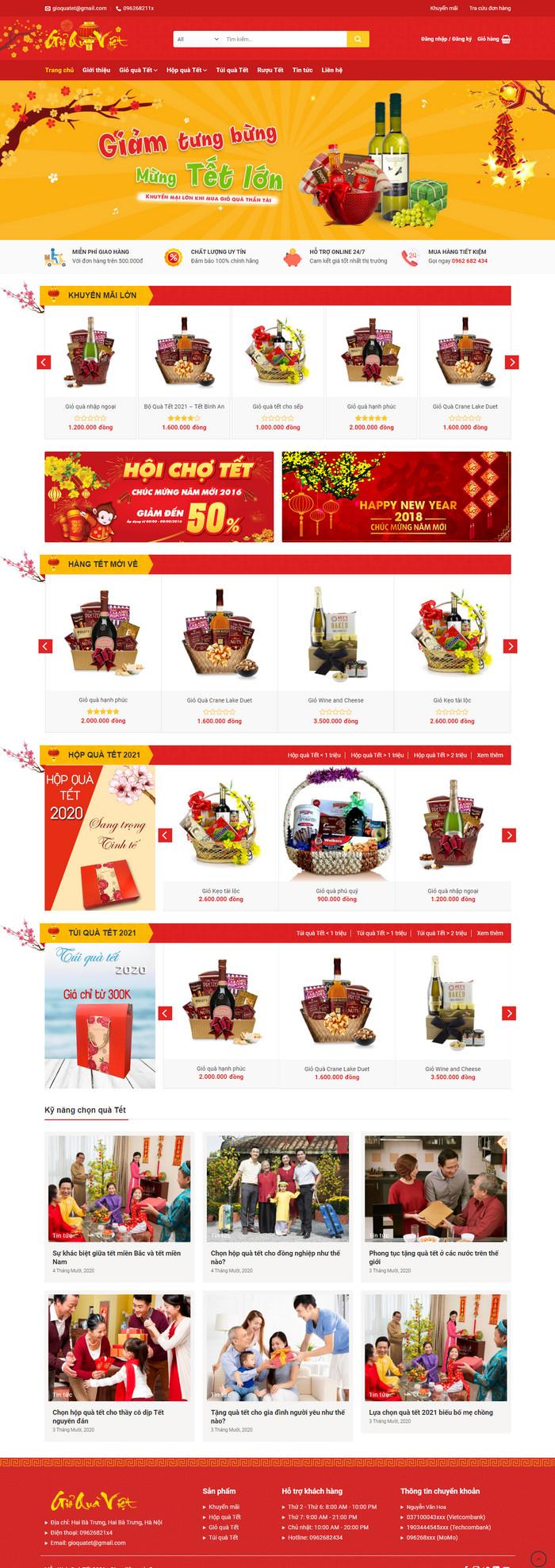 Theme wordpress bán hàng Quà Tết 2021 M190