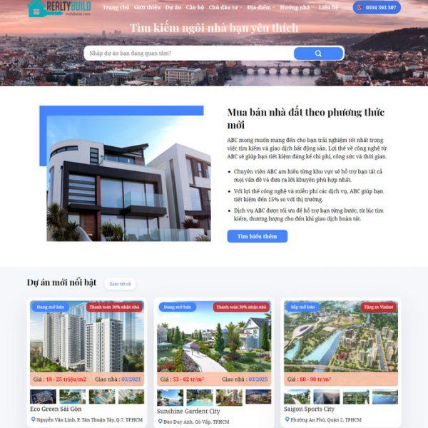 Theme Wordpress Bất Động Sản Cao Cấp Mẫu 92 hình 2