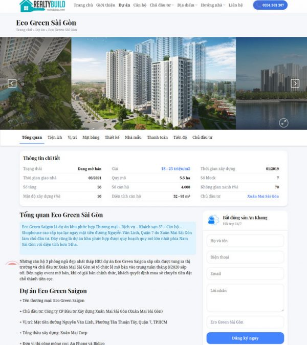 Theme Wordpress Bất Động Sản Cao Cấp Mẫu 92 hình 5