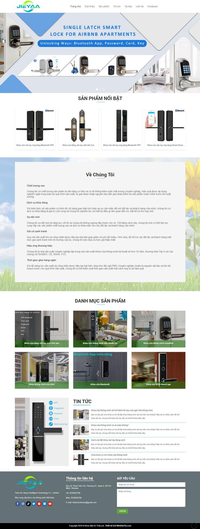 Theme WordPress giới thiệu sản phẩm Khóa Điện Tử M194