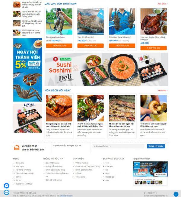Theme Wordpress bán hàng Hải Sản M203 hình 3