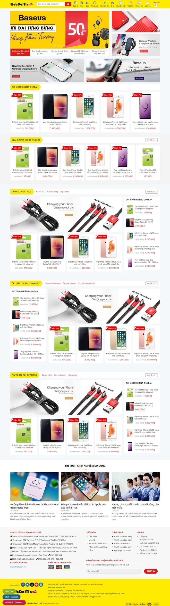 Theme WordPress bán hàng phụ kiện điện thoại M206