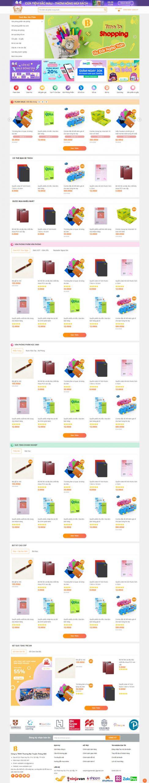 Theme WordPress bán hàng Văn phòng phẩm M208