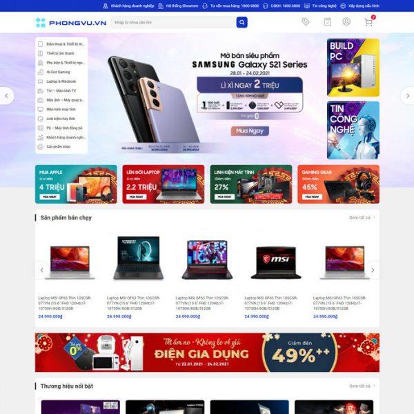 Theme Wordpress bán hàng điện máy giống Phong Vũ M213 hình 2