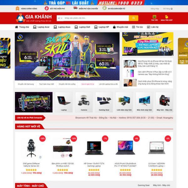 Theme Wordpress bán hàng Máy tính Laptop, phụ kiện Mẫu số 7 hình 2
