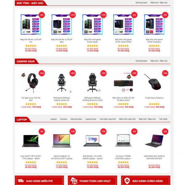 Theme Wordpress bán hàng Máy tính Laptop, phụ kiện Mẫu số 7 hình 3
